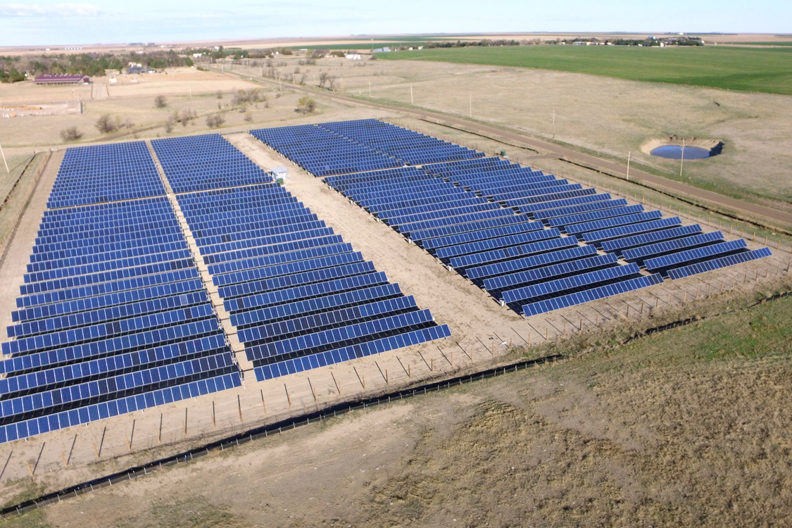 An aerial view of Midwest Energy's Community Solar Array, just north of Colby, Kan., which is the state's largest solar array, and fills eight acres of pasture with 3,960 panels.