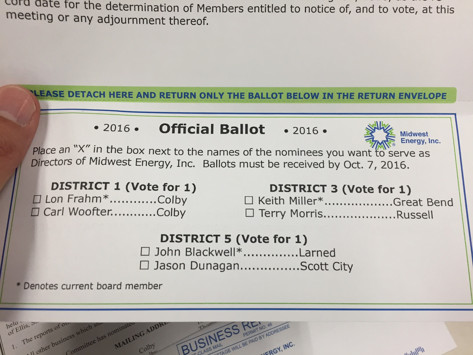 A photo of a hand holding the 2016 Board of Directors ballot.