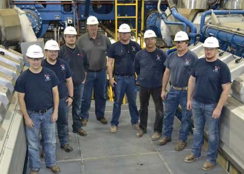 The NAES team that operates the Goodman Energy Center in Hays. (L to R) Doug Ford, Plant Administrator; Colt Surratt, O&M Technician; Luke Fox, O&M Technician; Mike Prindle, Plant Manager; Peter Schield, O&M Technician; Darryl Wellbrock.