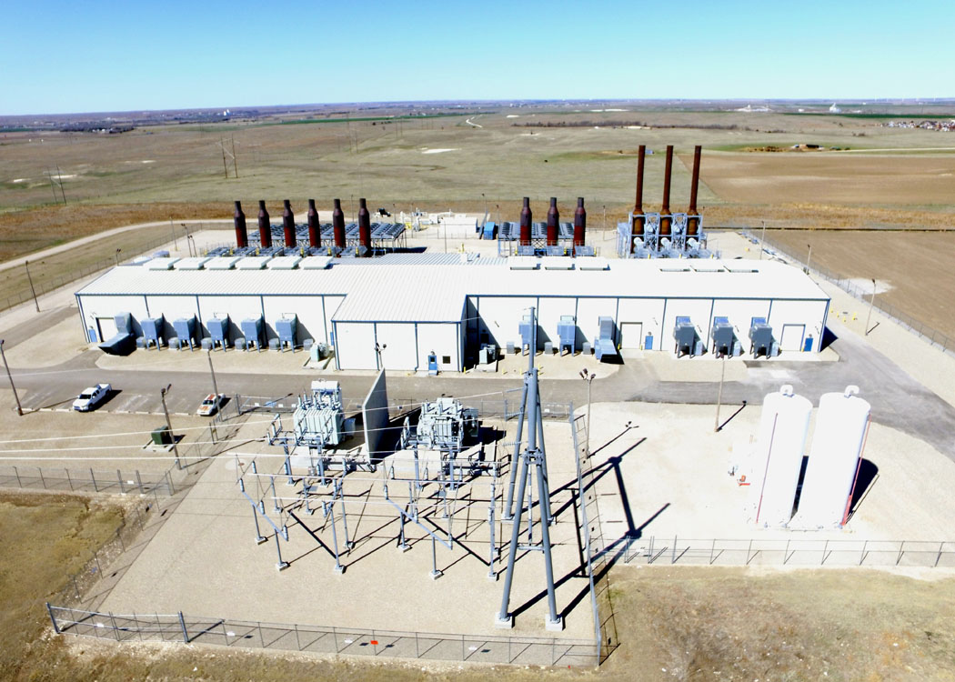 Aerial view of the Goodman Energy Center, a 102 megawatt natural gas-fueled electric generation plant located in Hays, Kan.