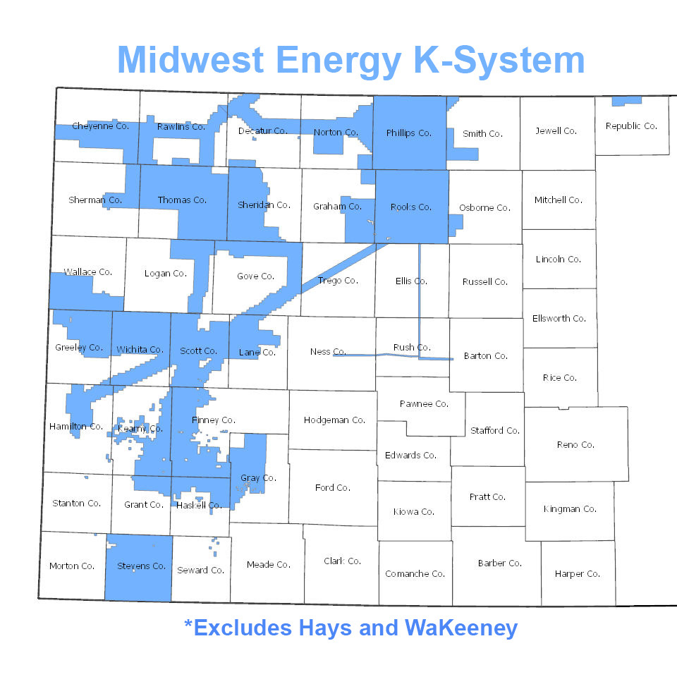A map of showing the boundaries of the Midwest Energy K-system for natural gas.
