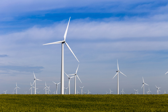 Photo of the Smoky Hills wind farm in Lincoln County, Kan.