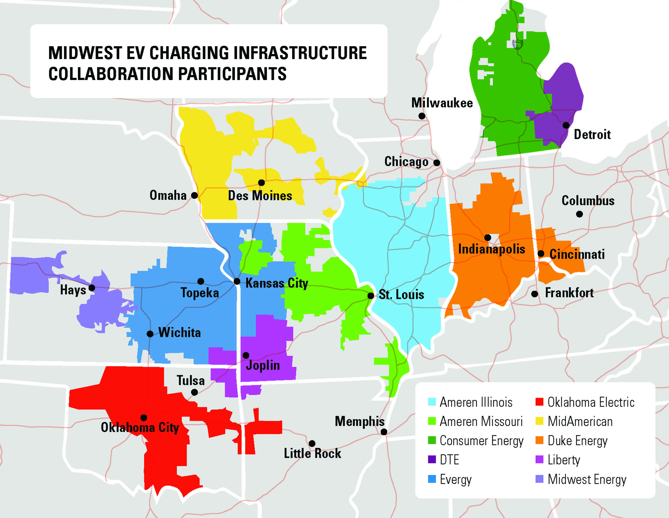 A map of the Midwestern U.S., showing 10 utility companies from Michigan to Kansas who have signed a memorandum of cooperation regarding electric vehicle chargers.
