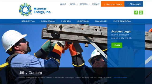 A screen grab of Midwest Energy's new website. The screen grab shows Midwest Energy electrical lineman working on powerlines on a pole.
