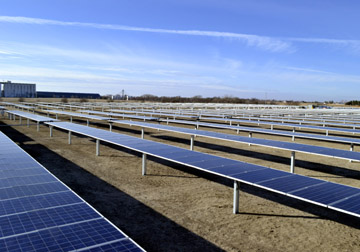 The MWE Community Solar Array in Colby, Kan.; the panels are seen in the flat, or