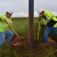 Two men in bright green safety shirts and hard hats shovel dirt from the base of a power pole to perform an inspection.