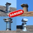 A photo of four damaged rooftop gas exhaust vents.  Damaged or covered gas exhaust vents prevent carbon monoxide from properly venting, and can lead to a deadly buildup of CO inside the home.  Carbon monoxide is colorless and odorless, and only a carbon monoxide detector can alert homeowners to its presence.  The Centers for Disease Control estimates 400 Americans die in their homes from unintentional carbon monoxide exposure.
