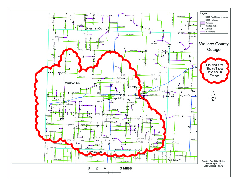 Areas circled in red are impacted by this planned outage.