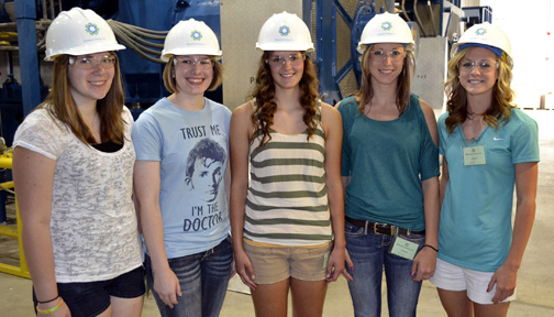 Christina Sledd, Sierra Spencer Lohoefener, Audra Nowak, Kylie Jones and Kelly Wycoff visited the Goodman Energy Center in Hays June 13, before heading off to Washington, D.C.