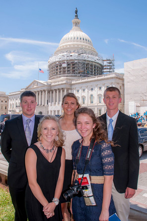 Midwest Energy's five 2016 Youth Tour attendees pose in front of the U.S. Capitol building in Washington, D.C.