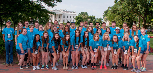 2016 Youth Tour attendees from Kansas and Hawaii pose in front of the White House in Washington, D.C.
