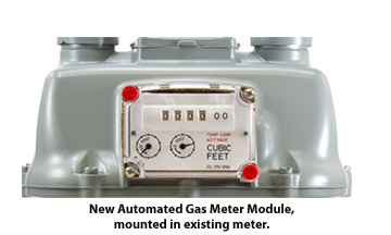 A frontal view of a gas meter with an automated gas meter module inserted in it.