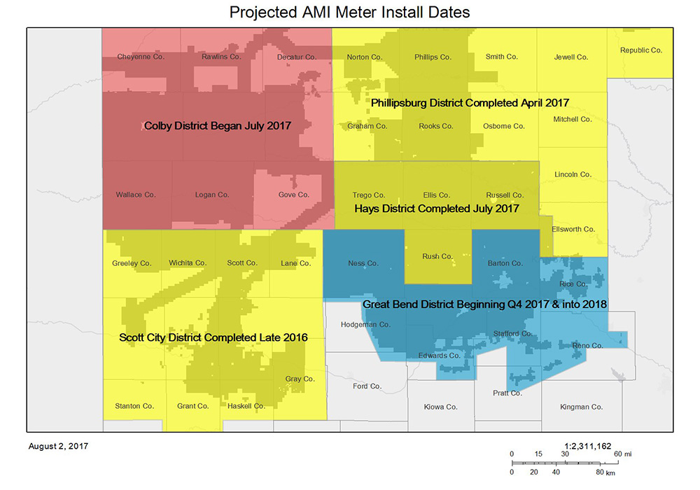A map showing more than half of Midwest Energy's service area already converted to automated meters, as of August 2017.