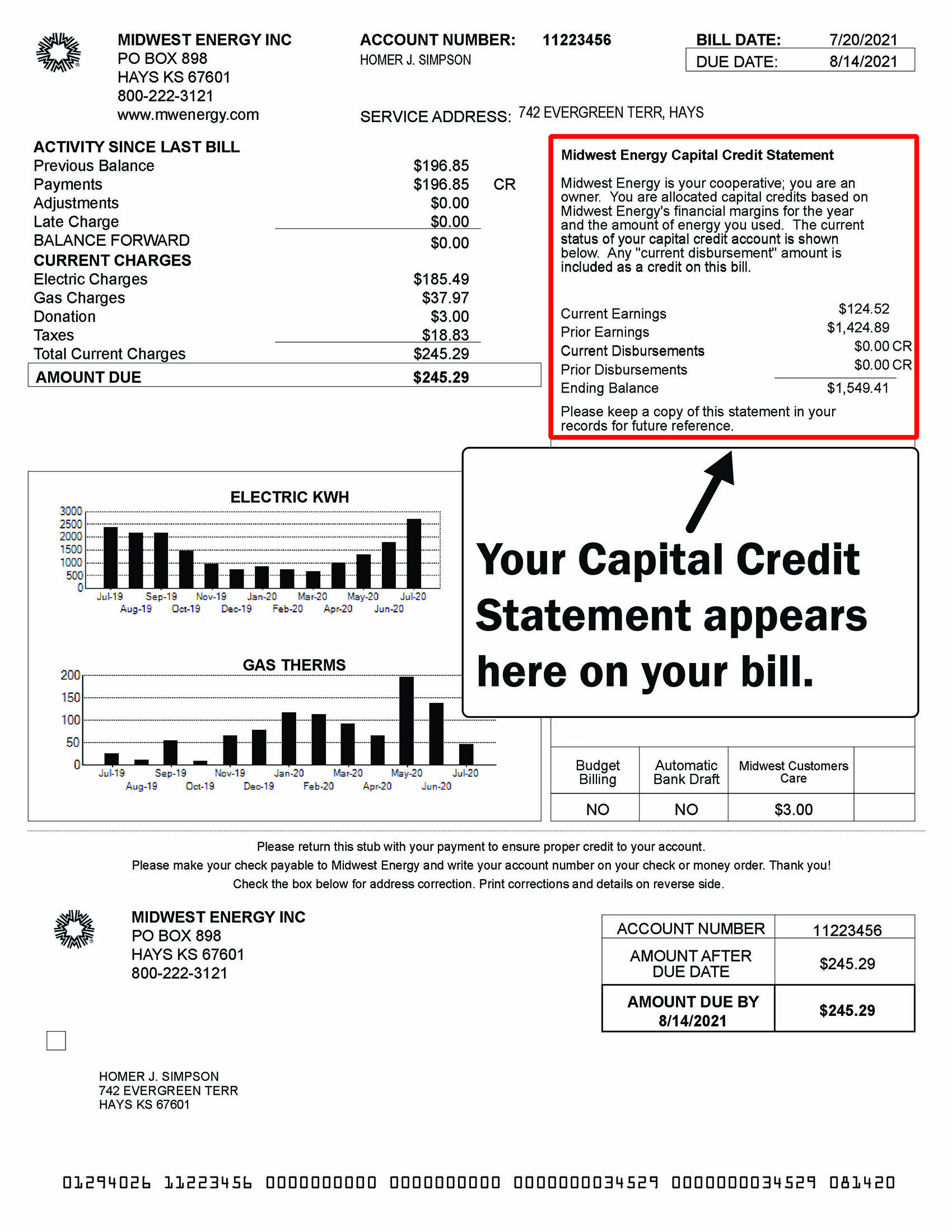 An image of a Midwest Energy bill with the Captial Credit Statement highlighted.