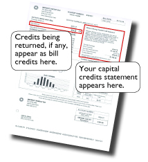 An image of a Midwest Energy statement showing Capital Credits due to a customer.
