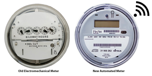 A photo of an old electromechanical meter is shown next to a new automated meter.