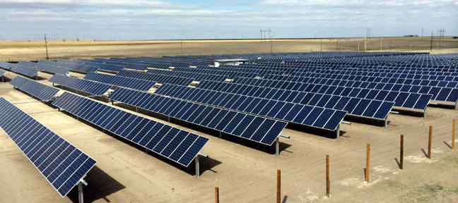 3,960 solar array panels are mounted on steel tracking structures at the Midwest Energy Community Solar Array in Colby, Kan.